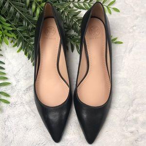 Tory Burch Black leather Greenwich Kitten Heels